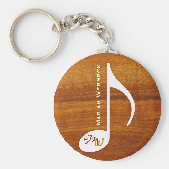 custom music note on wood key ring