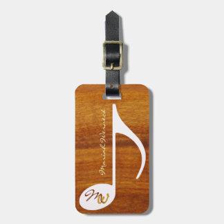 custom music note on wood luggage tag