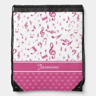 Custom Music Notes and Hearts Pattern Pink White Drawstring Bag