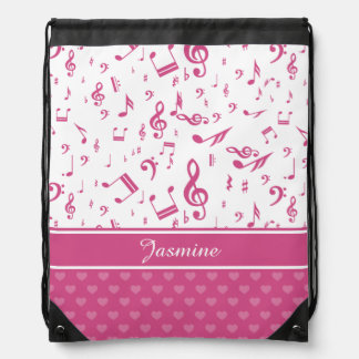 Custom Music Notes and Hearts Pattern Pink White Cinch Bag