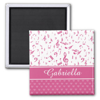 Custom Music Notes and Hearts Pattern Pink White Square Magnet