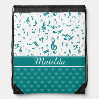 Custom Music Notes and Hearts Pattern Teal White Cinch Bags