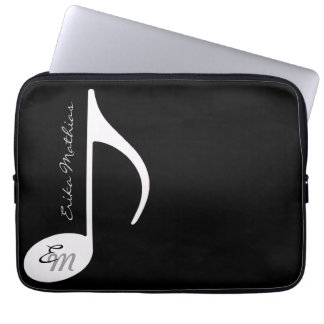 custom musical note in black & white laptop sleeve