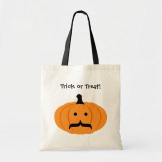 Custom mustache orange pumpkin trick or treat budget tote bag