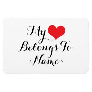 Custom My Heart Belongs To <Name> Rectangular Photo Magnet