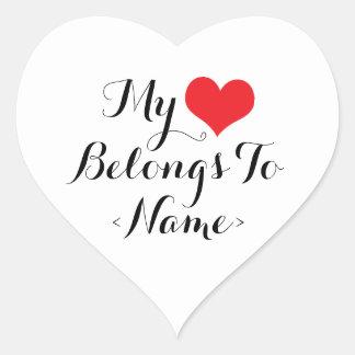 Custom My Heart Belongs To <Name> Heart Sticker