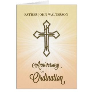 Custom Name, 10th Anniversary of Ordination, Gold Card