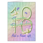 Custom Name 18th Birthday Butterfly Garden Card