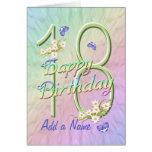 Custom Name 18th Birthday Butterfly Garden Card