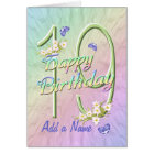 Custom Name 19th Birthday Butterfly Garden Card