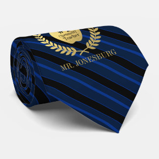 Custom Name #1 Teacher Faux Gold Blue Striped Tie