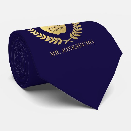 Custom Name #1 Teacher Indigo Faux Gold Tie