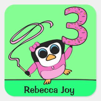 Custom Name - 3rd Birthday - Gymnast Penguin Sticker
