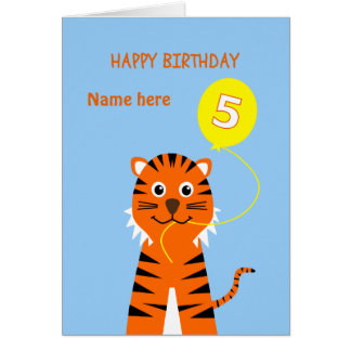 Birthday for 5 year old boys cards invitations zazzle custom name 5th birthday tiger pale blue card stopboris Image collections