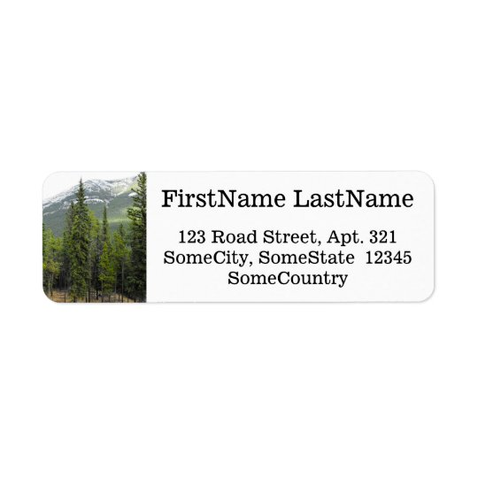Custom Name/Address + Forest and Mountain Scene Return Address Label