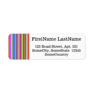 Custom Name/Address + Stripes of Various Colors