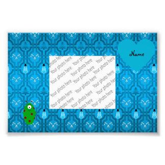 Custom name alien blue snowman trellis pattern art photo