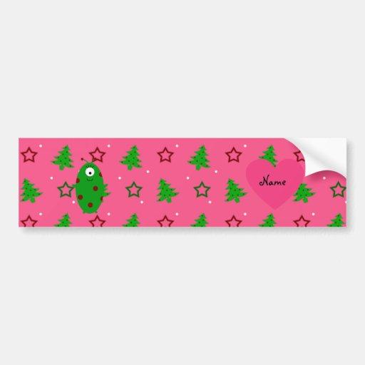 Custom name alien pink christmas trees stars bumper sticker