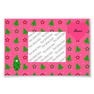 Custom name alien pink christmas trees stars photo art