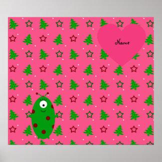 Custom name alien pink christmas trees stars poster