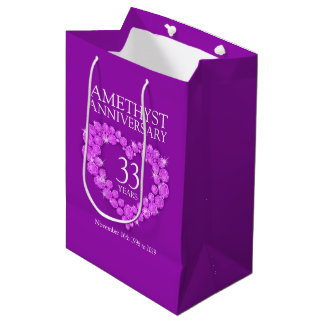 Custom name amethyst anniversary photo purple bag