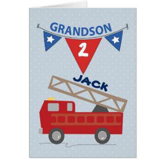 Custom Name and Age Grandson Firetruck Card