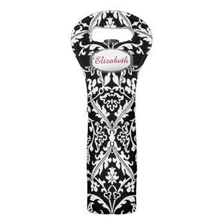 Custom Name and Elegant Black and White Damask A23 Wine Bag