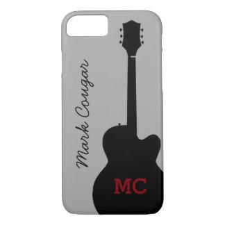 custom name and initials black rock guitar iPhone 7 case