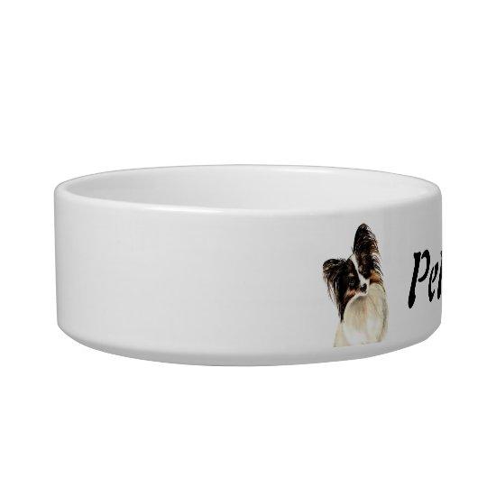 Custom Name and Photo Papillon, Pet, Dog Bowl