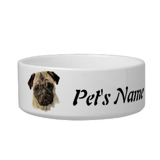 Custom Name and Photo Pug Pet, Dog Cat Water Bowl