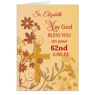 Custom Name and Year, 62nd Jubilee Anniversary Nun Card