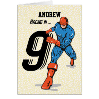 Custom Name, Andrew, 9th Birthday Superhero Card