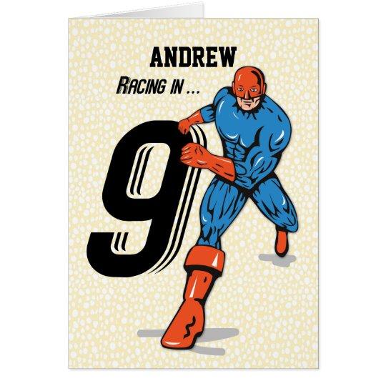 Custom Name, Andrew, 9th Birthday Superhero Card