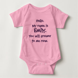 "Custom Name ""Answer To Me""  Funny Baby Bodysuit"