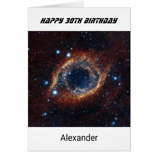 Custom name any age birthday nebula card