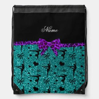 Custom name aqua glitter gymnastics purple bow drawstring bag