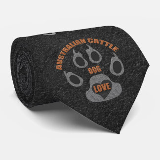 Custom Name Australian Cattle Dog Breed Gray Tie