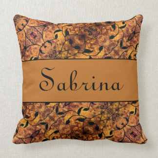 Custom Name Autumn Pattern Cushion