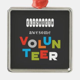 Custom Name, Awesome Volunteer Appreciation Christmas Ornament