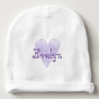 Custom name baby beanie hat with cute purple heart