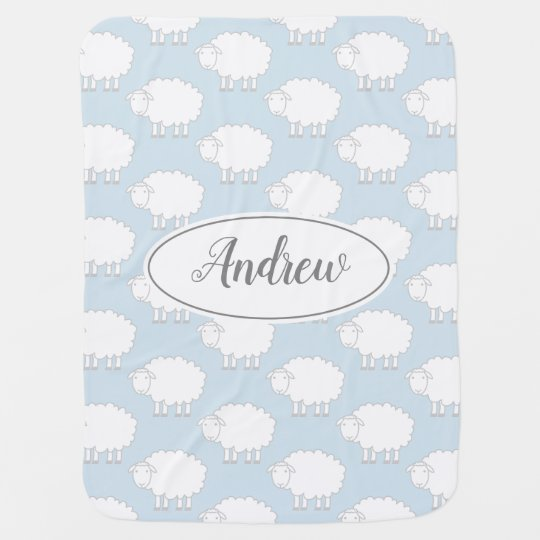 Custom name baby blanket with cute sheep pattern