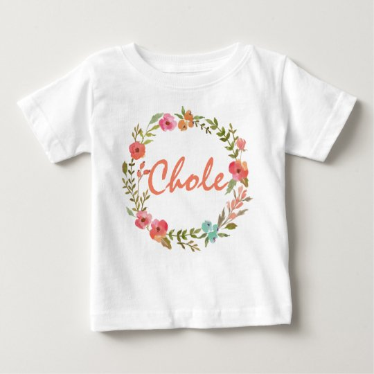 Custom Name Baby Girl Watercolor Floral Wreath-8 Baby
