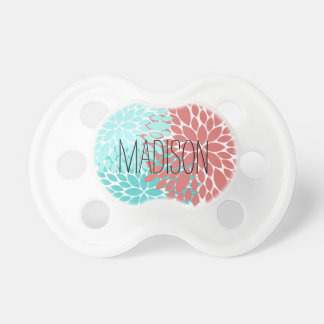 Custom Name Baby Pacifier Dahlia Floral Pattern