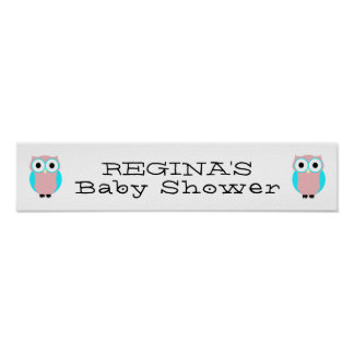 Custom Name Baby Shower Cute Owls Poster