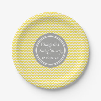 Custom Name Baby Shower Plates Yellow Grey Chevron