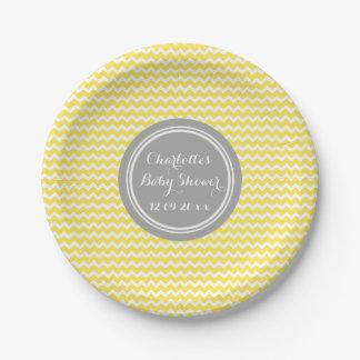 Custom Name Baby Shower Plates Yellow Grey Chevron 7 Inch Paper Plate