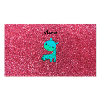Custom name baby turquoise giraffe pink glitter business card templates