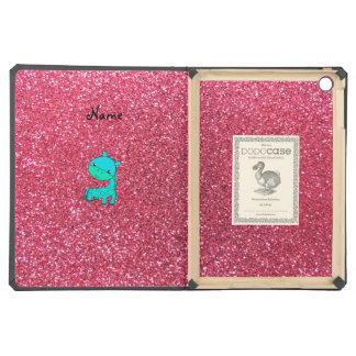 Custom name baby turquoise giraffe pink glitter iPad air cases
