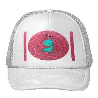 Custom name baby turquoise giraffe pink glitter mesh hats