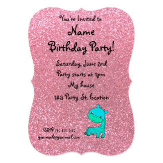 "Custom name baby turquoise giraffe pink glitter 5"" x 7"" invitation card"